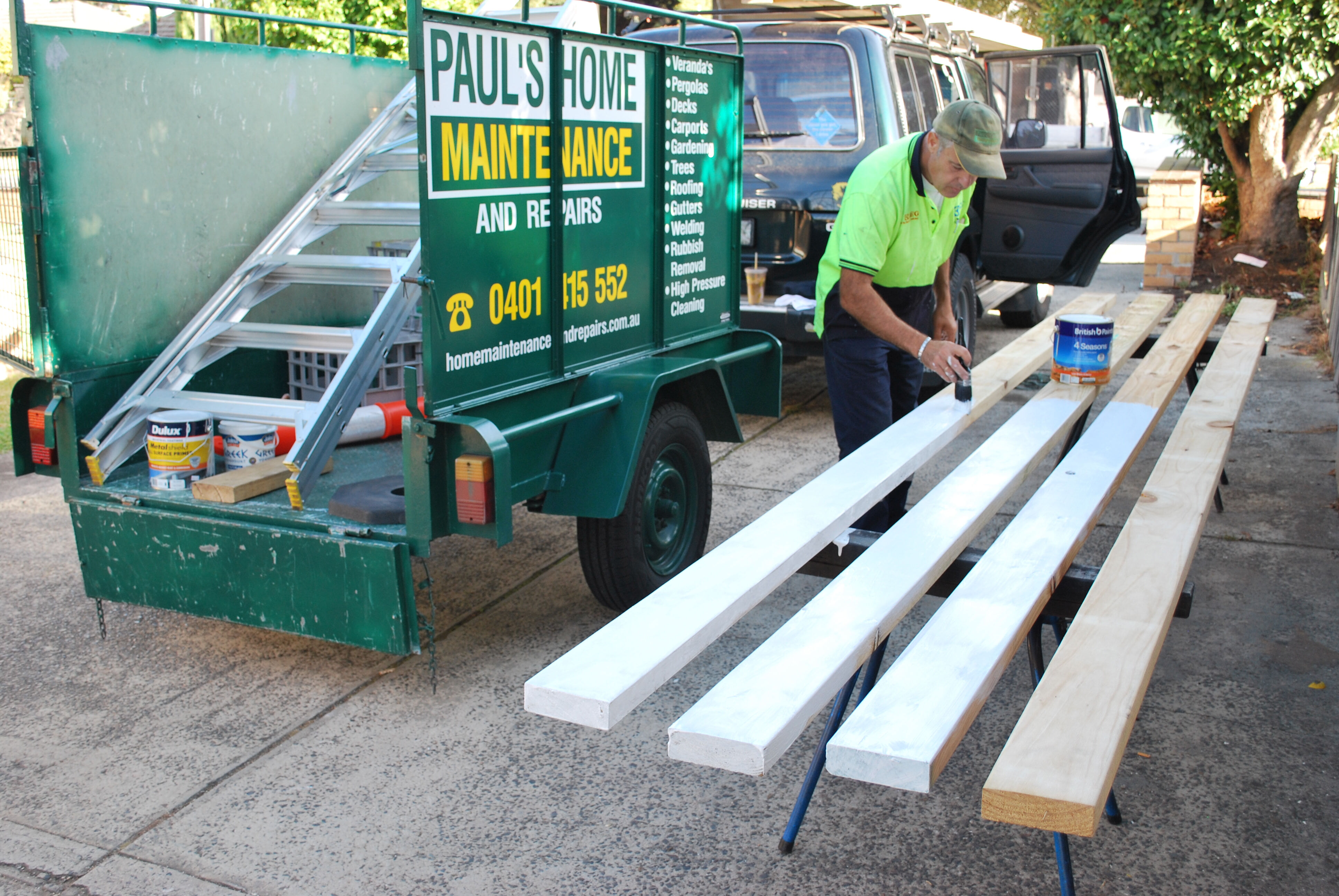 Painting Beams for Carport